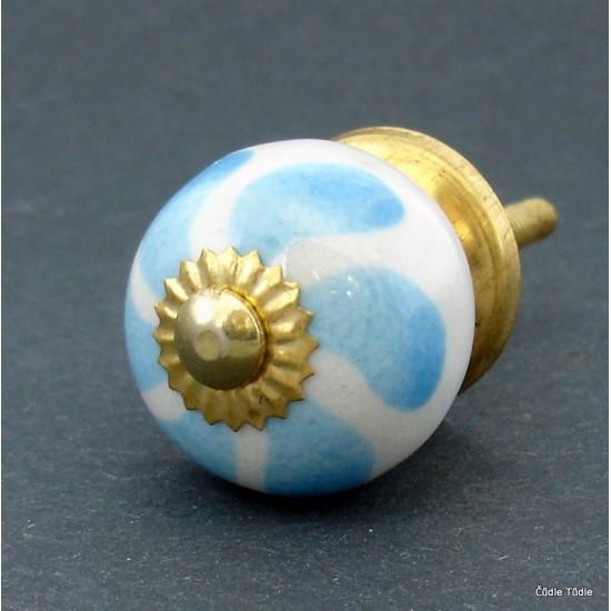 Úchytka bílá s modrou květinou 3 cm