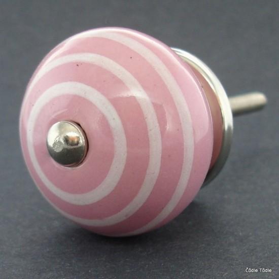 Nábytková úchytka růžová 3,7 cm - knopka