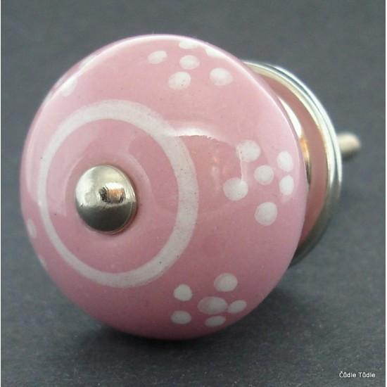 Nábytková úchytka růžová 4cm - knopka