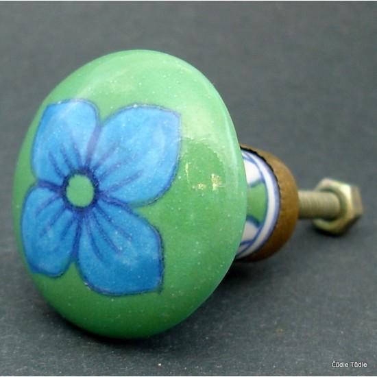 Nábytková úchytka zelená 3,5 cm - knopka