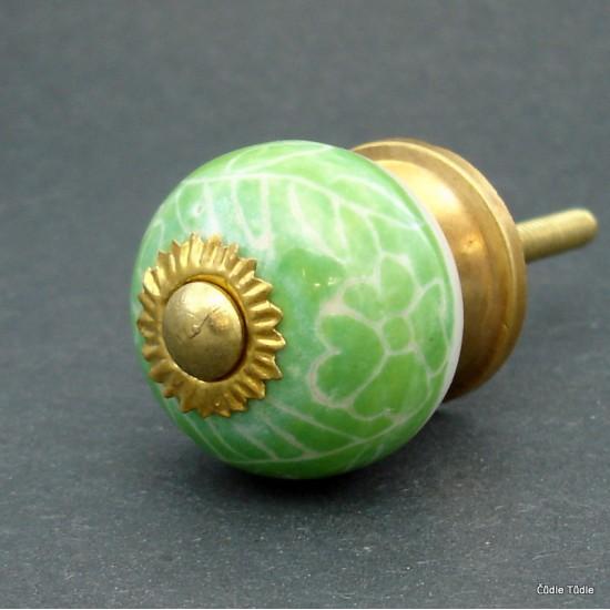 Nábytková úchytka světle zelená s bílým ornamentem 3 cm - knopka