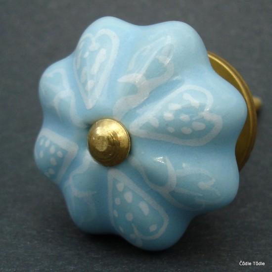 Nábytková úchytka světle modrá s ornamentem 4,2 cm - knopka