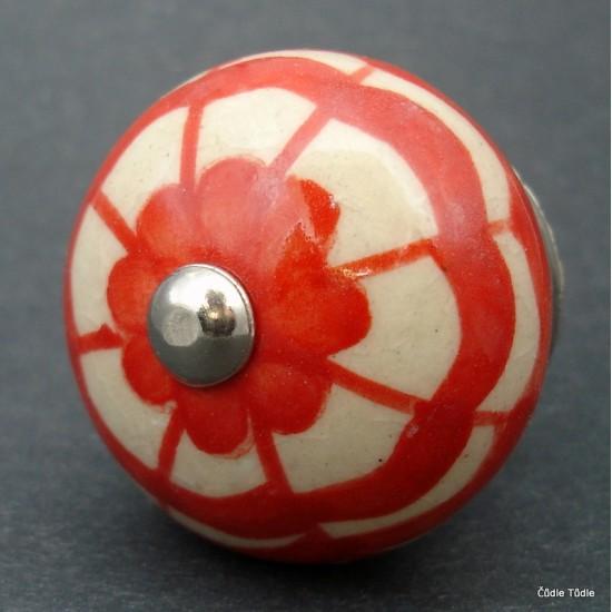 Nábytková úchytka krémová s ornamentem 4 cm - knopka