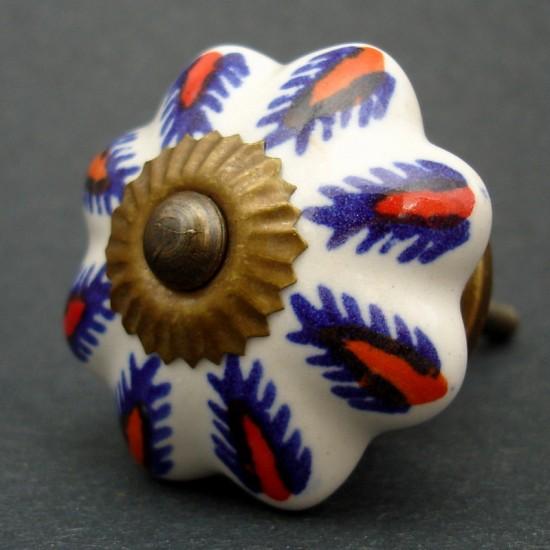 Nábytková úchytka bílá s černým ornamentem 4,2 cm - knopka