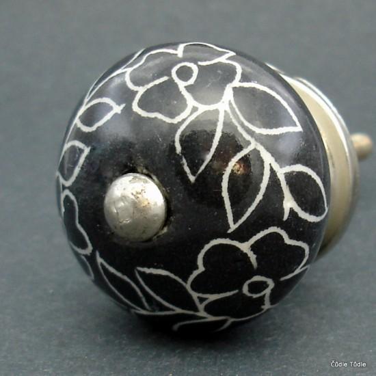 Nábytková úchytka černá s bílým ornamentem 3,7 cm - knopka