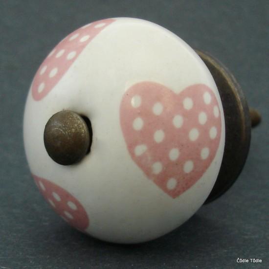 Nábytková úchytka bílá s růžovými srdíčky 4 cm - knopka