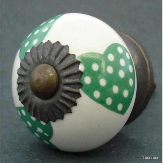 Nábytková úchytka bílá se zelenými srdíčky 3,7 cm - knopka