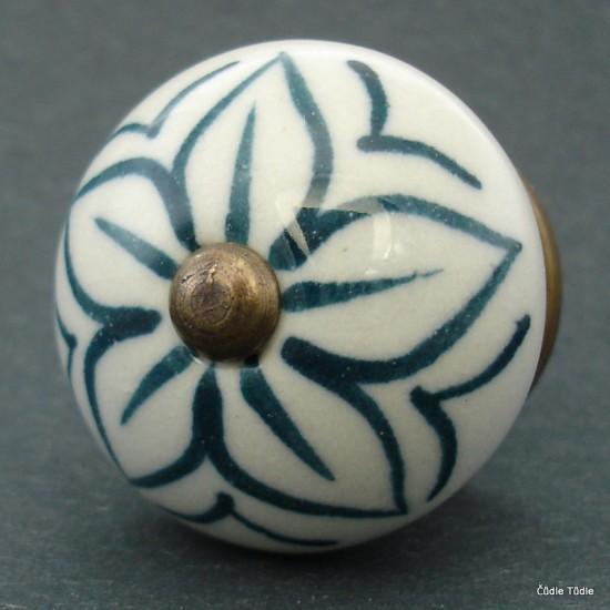 Nábytková úchytka bílá se zeleným ornamentem 4 cm - knopka
