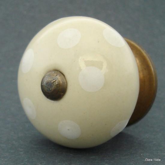 Nábytková úchytka krémová 4 cm - knopka