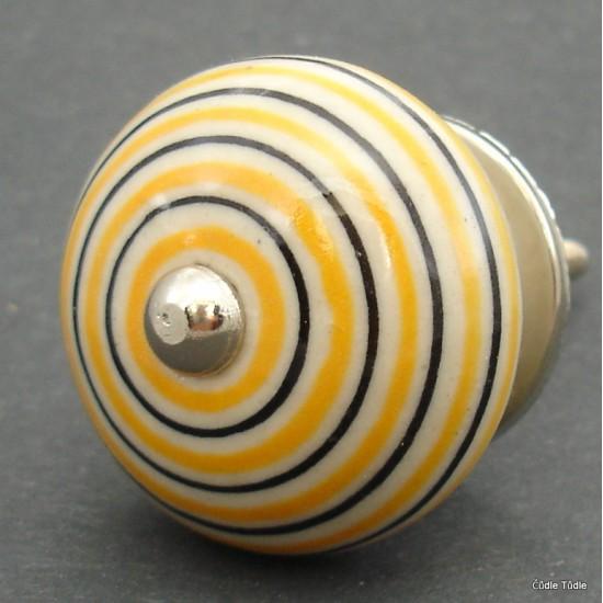 Nábytková úchytka krémová s proužky 4 cm - knopka