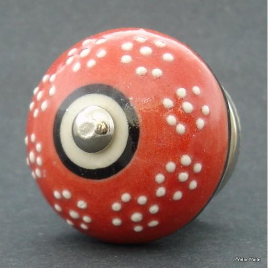 Nábytková úchytka červená s reliéfními kvítky 4 cm - knopka