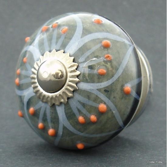 Nábytková úchytka šedá s reliéfními tečkami 4 cm - knopka