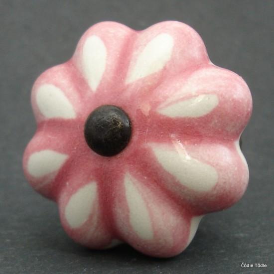 Nábytková úchytka bílá s růžovou konturou 4,2 cm - knopka