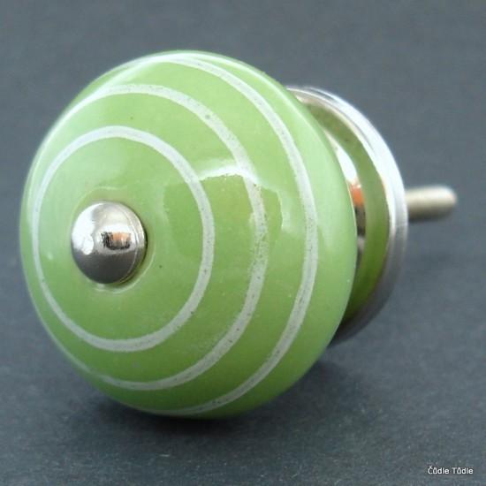 Nábytková úchytka světle zelená s bílými proužky 4 cm - knopka