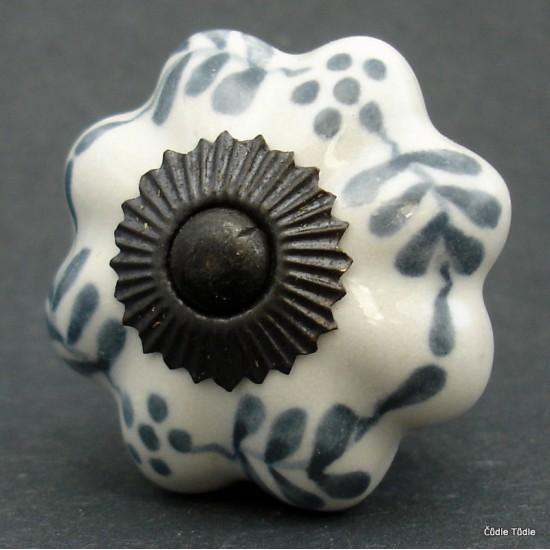 Nábytková úchytka bílá s šedou kresbou 4,2 cm - knopka