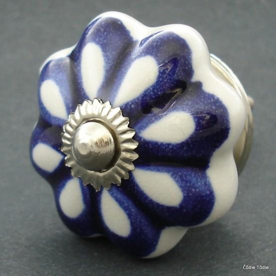 Nábytková úchytka bílá s modrou konturou 4,5 cm - knopka