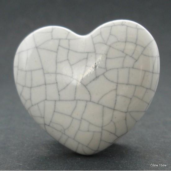 Nábytková úchytka bílá crackle efekt 4,5 cm - knopka