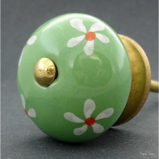 Nábytková úchytka světle zelená 3,7 cm - knopka