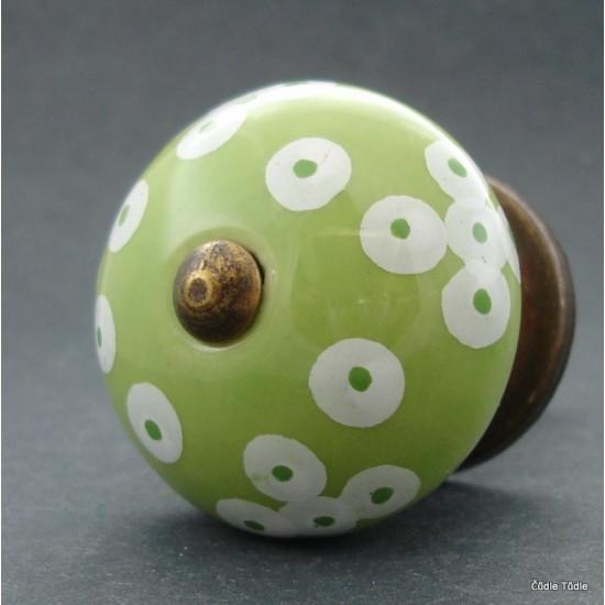 Nábytková úchytka světle zelená s puntíkky 4 cm - knopka