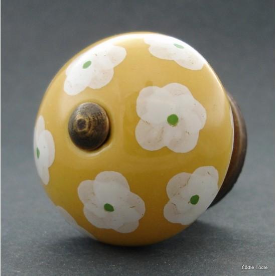 Nábytková úchytka žlutá s kytičkami 4 cm - knopka
