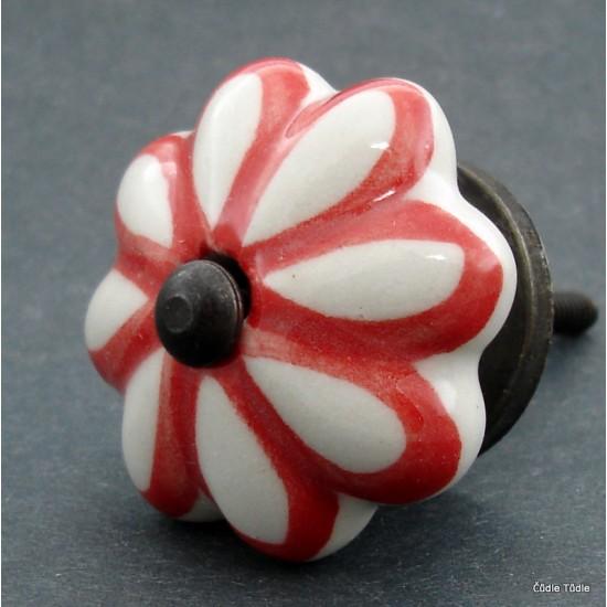Nábytková úchytka bílá s červenou konturou 4,2 cm - knopka