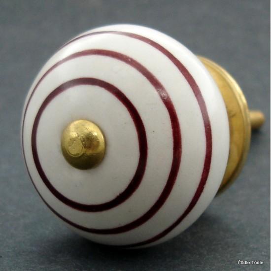 Nábytková úchytka bílá s hnědými proužky  4 cm - knopka