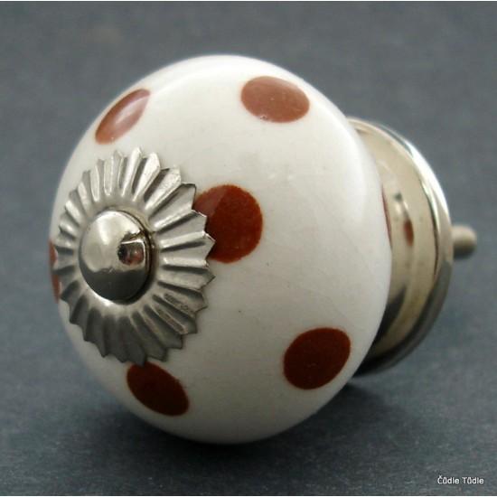 Nábytková úchytka bílá s hnědými puntíky 4 cm - knopka