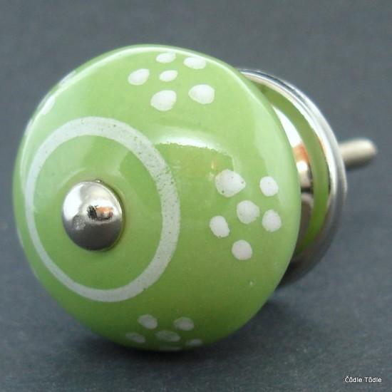 Nábytková úchytka světle zelená 4 cm - knopka