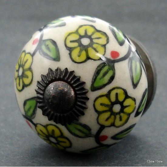 Nábytková úchytka krémová se žlutými kvítky - 4 cm - knopka