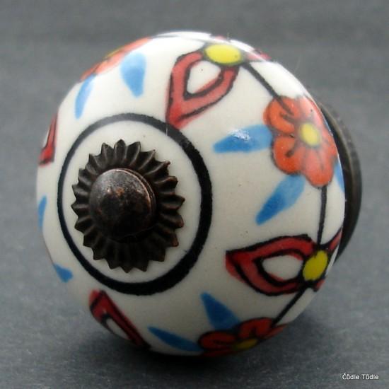 Nábytková úchytka krémová s barevnou kresbou - 4 cm  - knopka