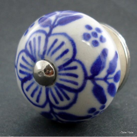 Nábytková úchytka bílá s modrou kresbou 4 cm - knopka