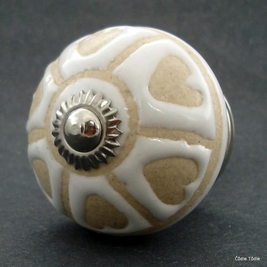 Nábytková úchytka bílá se srdíčky - 4 cm - knopka