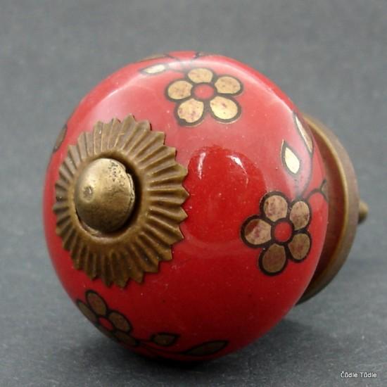 Nábytková úchytka červená se zlatými kytičkami - 4 cm - knopka