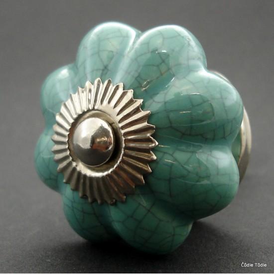 Nábytková úchytka modrozelená crackle efekt - 4,2 cm - knopka