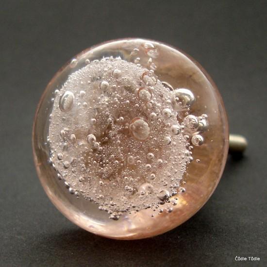 Nábytková knopka skleněná růžová 3,7 cm   - úchytka
