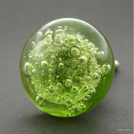 Nábytková knopka skleněná světle zelená 3,7 cm   - úchytka
