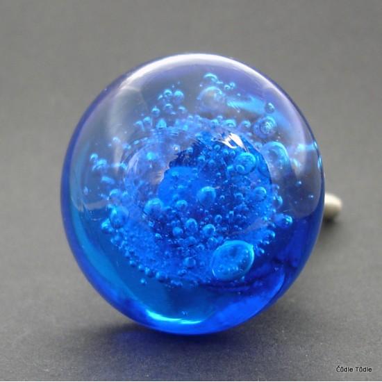 Nábytková knopka skleněná  modrá 3,7 cm   - úchytka