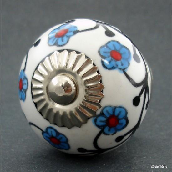 Nábytková úchytka bílá s kytičkami 4 cm - knopka