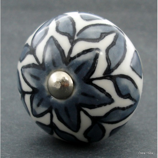 Nábytková úchytka bílá s  tmavě šedou kresbou - 4 cm  - knopka