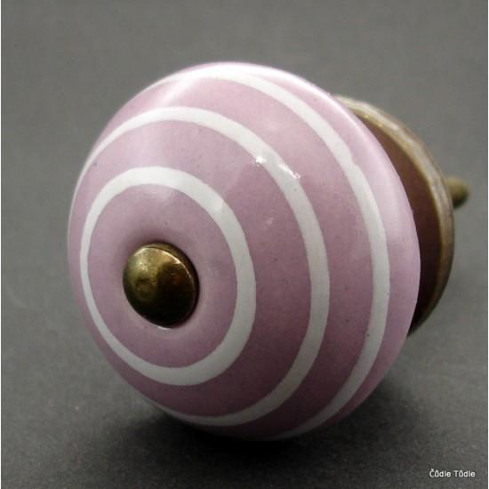 Nábytková úchytka světle fialová  s bílými proužky 4 cm - knopka