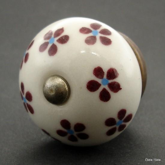 Nábytková úchytka bílá  s vínovými kvítky 4 cm - knopka