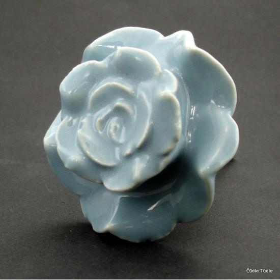 Nábytková úchytka šedá růže 6 cm - knopka