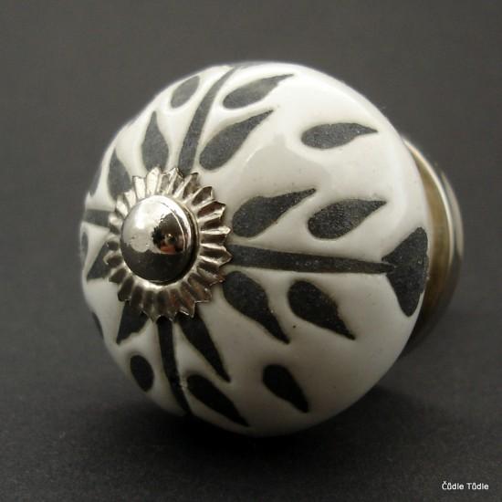 Nábytková úchytka bílá s reliéfní glazurou- 4 cm - knopka
