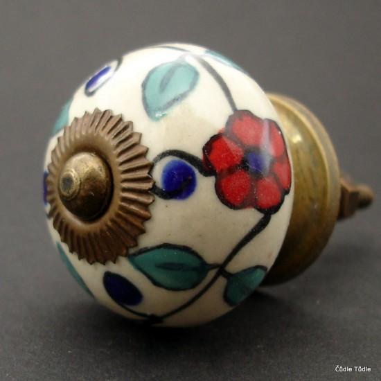 Nábytková úchytka krémová s kresbou květin 4 cm - knopka