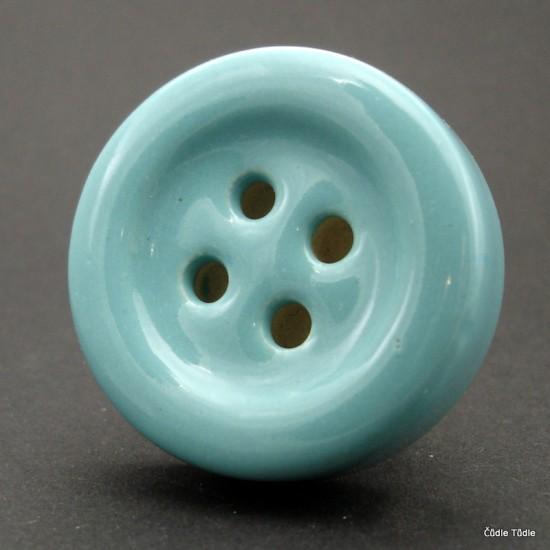 Nábytková úchytka modrozelená tvar knoflíku 4 cm - knopka