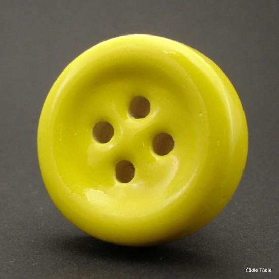 Nábytková úchytka žlutá  tvar knoflíku 4 cm - knopka