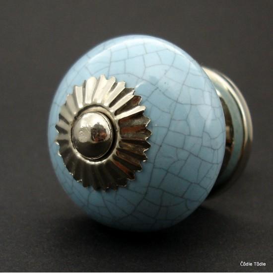 Nábytková úchytka světle modrá crackle efekt- 4 cm - knopka