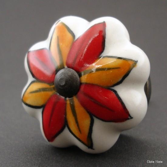 Nábytková úchytka bílá s barevnou květinou 4,2 cm - knopka