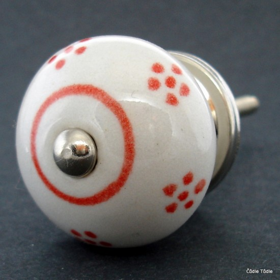 Nábytková úchytka bílá s červenými kytičkami 4 cm - knopka