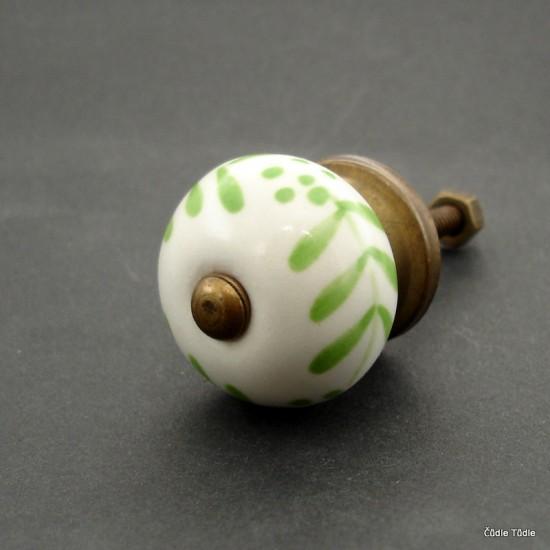Nábytková úchytka bílá se světle zeleným ornamentem 3 cm - knopka
